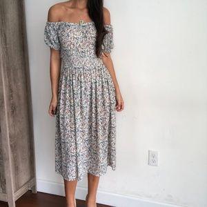 Madewell smocked waist peasant off shoulder dress